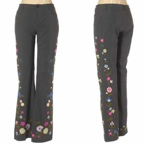 Moschino Dress Pants Embroidered Floral Trousers